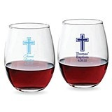 Personalized Simple Cross Design 9 oz Stemless Wine Glasses