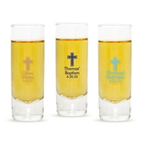 Personalized Simple Cross Design Tall Shot Glass