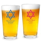 Personalized Star of David Design 16 ounce Pint Glasses