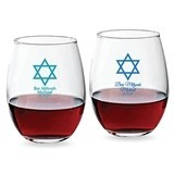Personalized Star of David Design 9 oz Stemless Wine Glasses