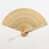 Personalizable Intricately-Carved Sandalwood Fan with White Tassel