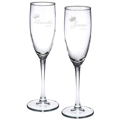 Engraved King & Queen Crowns Motif Toasting Flutes (Set of 2)