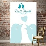 Personalized Love Birds Photo Booth Backdrop (Blue or White)