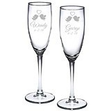 Engraved Love Birds Design Toasting Flutes (Set of 2)