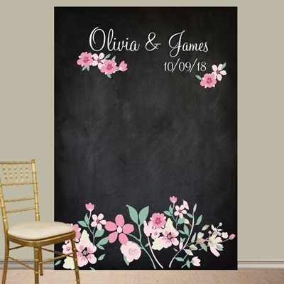"Personalized ""Love Blooms"" Photo Booth Backdrop"