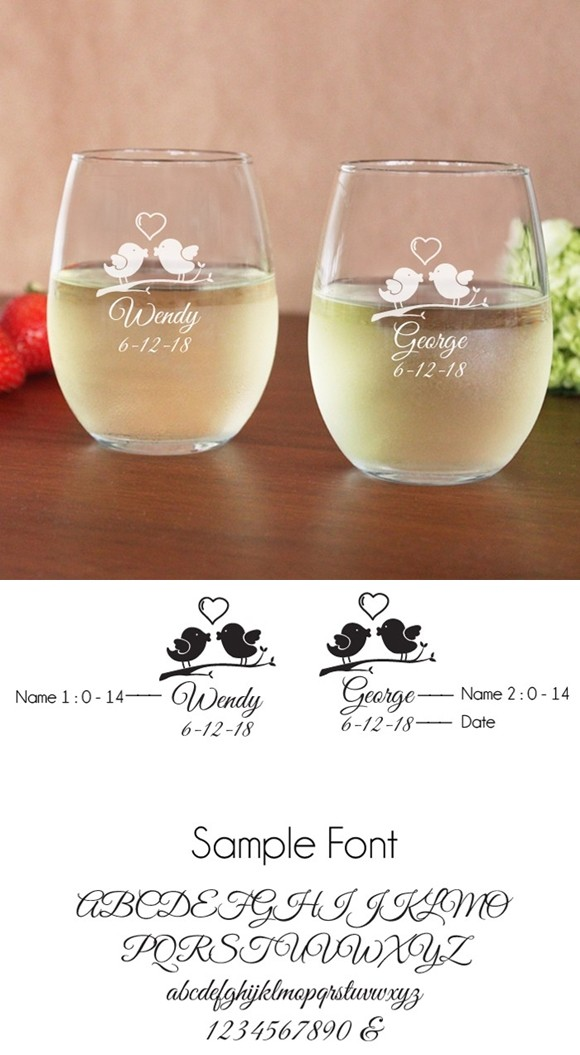 Engraved Love Birds 15 oz. Toasting Stemless Wine Glasses (Set of 2)