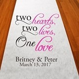 "Personalized ""Two Hearts, One Love"" Aisle Runner (19 Colors)"