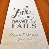 "Personalized ""Love Never Fails"" Aisle Runner (19 Colors)"