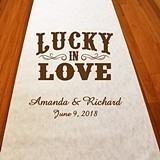 "Personalized ""Lucky in Love"" Aisle Runner (19 Colors)"