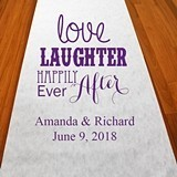 Personalized 'Love Laughter Happily Ever After' Design Aisle Runner