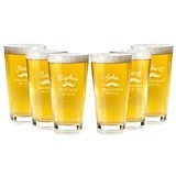Personalized Vintage Mustache Design Groomsman Pint Glasses (Set of 6)