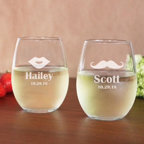 Engraved Lips & Mustache 15 oz. Stemless Wine Glasses (Set of 2)