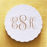 Personalized Classic Script Monogram Scalloped Coasters (Set of 25)