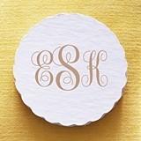 Personalized Classic Script Monogram Scalloped Coasters (Set of 25)