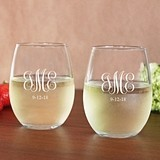 Engraved Monogram 15 oz. Toasting Stemless Wine Glasses (Set of 2)