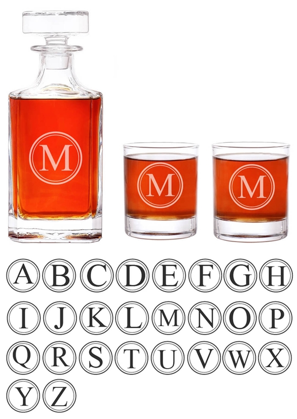 Abby Smith Engraved Circle Monogram 3-piece Decanter Set