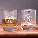 Engraved Circle Monogram Shot Glasses/Votive Holders (Set of 2)