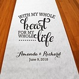 "Personalized ""With My Whole Heart"" Aisle Runner (19 Colors)"