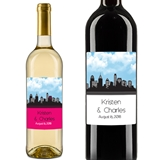 Personalized New York City Skyline Wine Stickers (Set of 5)(28 Colors)