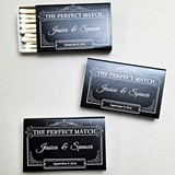 Personalized 'The Perfect Match' Scroll Black Matchboxes (Set of 50)