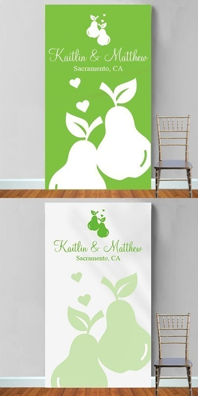 Personalized Perfect Pair Design Photo Booth Backdrop (Green or White)
