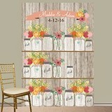 Personalized Rustic Mason Jars Photo Booth Backdrop