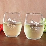 Engraved Starfish 15 oz. Toasting Stemless Wine Glasses (Set of 2)