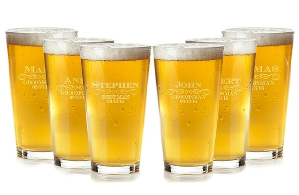 Engraved Personalized Swirl Design Groomsman Pint Glasses (Set of 6)