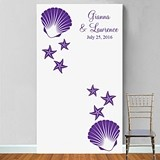 Personalized Seashell Starfish Motif Photo Booth Backdrop (28 Colors)