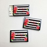 Personalized Stripes and Poppies Black Matchboxes (Set of 50)