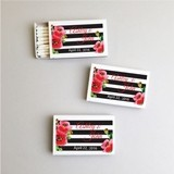Personalized Stripes and Poppies White Matchboxes (Set of 50)