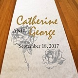 Personalized Silver Rose Design Aisle Runner
