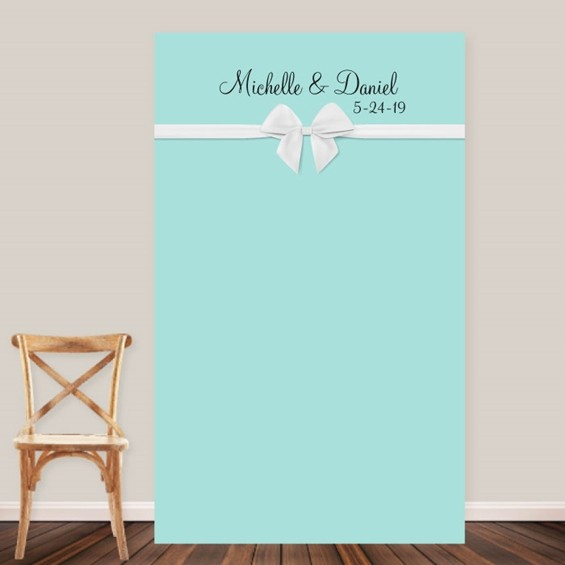 "Personalized ""Something Blue"" with White Bow Photo Backdrop"