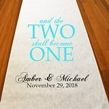 "Personalized ""Two Shall Become One"" Aisle Runner (19 Colors)"
