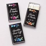 Personalized Vintage Floral Motif Black Matchboxes (Set of 50)