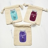 Personalized Vintage Mason Jar Design Muslin Favor Bags (22 Colors)