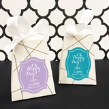 Personalized 'Oh Happy Day' Design Pedestal Favor Boxes (Set of 12)