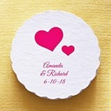 Personalized Wedding Icon Scalloped Coasters (80 Designs) (Set of 25)
