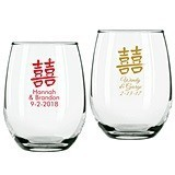 Personalized Double Happiness Design 9 ounce Stemless Wine Glasses