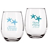Personalized Starfish Design 9 ounce Stemless Wine Glasses