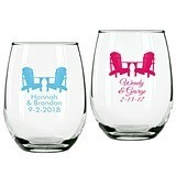 Personalized Adirondack Chair Design 9 ounce Stemless Wine Glasses