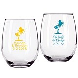 Personalized Palm Tree Design 9 ounce Stemless Wine Glasses