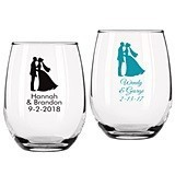 Personalized Bride and Groom Design 9 ounce Stemless Wine Glasses