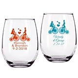 Personalized Bride & Groom Bike Ride Design 9 oz Stemless Wine Glasses