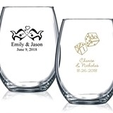 Personalized 15oz Wedding Icon Stemless Wine Glasses (61 Designs)