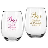 Personalized Paris Design 9 ounce Stemless Wine Glasses