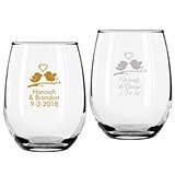 Personalized Love Birds Design 9 ounce Stemless Wine Glasses