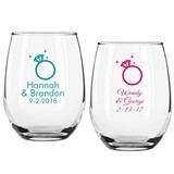 Personalized Diamond Ring Design 9 ounce Stemless Wine Glasses