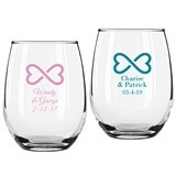 Personalized Infinity Hearts Design 9 ounce Stemless Wine Glasses