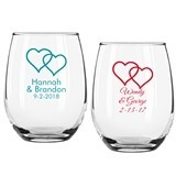 Personalized Two Hearts Design 9 ounce Stemless Wine Glasses